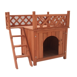 DH28X20X25WD Luxurious Cedar Wooden Dog Kennel with Side Steps and Balcony 28 X 20 X 25 Inches (0.7 X 0.5 X 0.6 m)