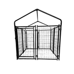 Expandable Heavy Duty Dog Kennel and Playpen Kit with Roof and Rain Cover - 4 x 4 x 4.5 Feet - Black - ALEKO