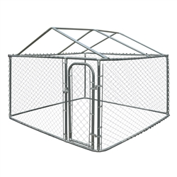 ALEKO DK7X7X6RF Dog Kennel 7.5 X 7.5 X 6 Feet (2.3 X 2.3 X 1.8 m) DIY Chain Link Box Kennel With Roof Frame