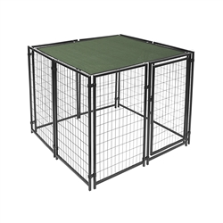 ALEKO DKSC5X5X4SQ Heavy Duty Dog Kennel 5 X 5 X 4 Foot (1.5 X 1.5 X 1.2 m)  Pet Playpen with Dark Green Shade
