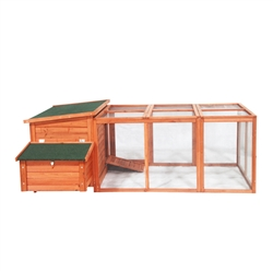 Fir Wood Chicken Coop with Chicken Run - 57 x 87 x 32in - ALEKO