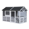 Barn Style Wooden Chicken Coup - 73 x 38 x 46 inches - Grey with White Trim