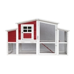 Barn Style Wooden Chicken Coop - 78 x 29.5 x 45.5 inches - Red with White Trim