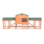 Deluxe Fir Wood Chicken Coop or Rabbit Hutch with Chicken Run - 89 x 24 x 34 Inches - ALEKO