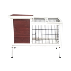 Fir Wood Chicken Coop or Rabbit Hutch with Small Chicken Run - 36 x 22 x 30 Inches - Red and White - ALEKO