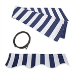 Retractable Awning Fabric Replacement - 2 x 1.5 Meter - Blue and White Striped - ALEKO