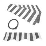 Retractable Awning Fabric Replacement - 2 x 1.5 Meter - Grey and White Striped - ALEKO