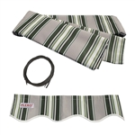 Retractable Awning Fabric Replacement - 2 x 1.5 Meter - Multi-Stripe Green - ALEKO