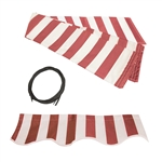 Retractable Awning Fabric Replacement - 2 x 1.5 Meter - Red and White Striped - ALEKO