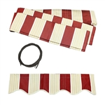 Retractable Awning Fabric Replacement - 2.4 x 2 Meter - Multi-Stripe Red - ALEKO