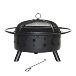 Steel Fire Pit Bowl with Mesh Cap, Log Grate and Poker 30 Inches - Black- ALEKO