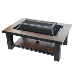 Rectangular Tiled Steel Fire Pit and Fire Bowl Table - 36 inches - ALEKO