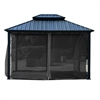 Double Roof Aluminum and Galvanized Steel Hardtop Gazebo with Mosquito Net - 12 x 10 Feet (3.6 x 3 Meters) - Black - ALEKO