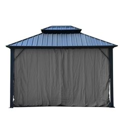 Curtain for Double Roof Aluminum and Steel Hardtop Gazebo - 10 x 12 Feet (3.6 x 3 Meters) - Grey - ALEKO