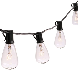 Outdoor/Indoor Traditional Weatherproof Patio String Cafe Lights with 25 Clear Bulbs - ALEKO