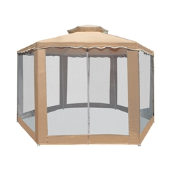 ALEKO GZ2RWN6X6X6SD Double Roof Hexagon Patio Gazebo with Netting 6.5 X 6.5 X 6.5 Feet (2 X 2 X 2 m), Sand