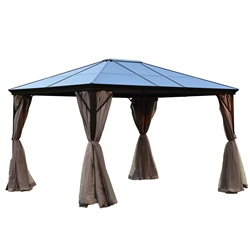 Aluminum Hardtop Gazebo with Mesh Curtains - 10 x 12 Feet - Brown - ALEKO