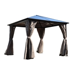 Aluminum Hardtop Gazebo with Mesh Curtains - 10 x 10 Feet - Brown - ALEKO