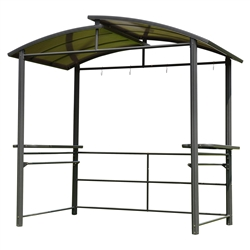 Steel Hard Top  BBQ Gazebo with Serving Tables - 8 x 5 x 8 Feet -  Brown - ALEKO