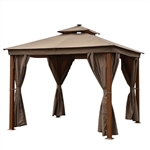 Double Roof Aluminum Gazebo with Wooden Finish and Curtain - 10 x 10 Feet - Sand - ALEKO