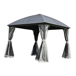 Aluminum and Steel Hardtop Gazebo with Mosquito Net - 10 x 10 Feet - Black - ALEKO