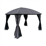 Aluminum and Steel Hardtop Gazebo with Mosquito Net - 12 x 10 Feet - Black - ALEKO