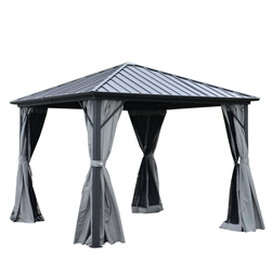 Aluminum and Steel Hardtop Gazebo with Mosquito Net and Curtain - 10 x 10 Feet (3 x 3 Meters) - Black - ALEKO