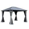 Aluminum and Steel Hardtop Gazebo with Mosquito Net and Curtain - 12 x 10 Feet (3.6 x 3 Meters) - Black - ALEKO