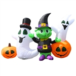 Inflatable Waving Halloween Ghost and Goblin Friends - 3.9 Foot