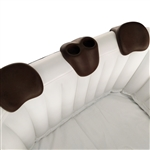 Removable 3-Piece Headrest and Drink Holder Set for Inflatable Hot Tubs - Brown - ALEKO