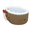 Oval Inflatable Hot Tub Spa With Drink Tray and Cover - 2 Person - 145 Gallon - Brown and White - ALEKO