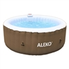 Round Inflatable Hot Tub Spa With and Cover - 4 Person - 210 Gallon - Brown and White - ALEKO