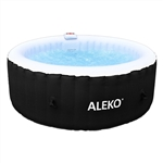 Round Inflatable Jetted Hot Tub Spa With Cover - 4 Person - 210 Gallon - Black and White - ALEKO