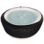 Round Inflatable Hot Tub Spa With Zip Cover - 6 Person - 265 Gallon - Black and White - ALEKO