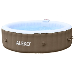 Round Inflatable Hot Tub Spa With Cover - 6 Person - 265 Gallon - Brown and White - ALEKO