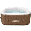 Square Inflatable Hot Tub Spa With Cover - 4 Person - 160 Gallon - Brown