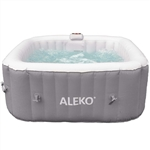 Square Inflatable Jetted Hot Tub Spa With Cover - 4 Person - 160 Gallon - Gray and White - ALEKO