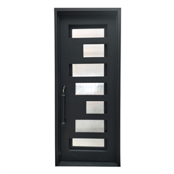 Iron Square Top Minimalist Door with Frame and Threshold - 40 x 96 Inches - Matte Black - ALEKO