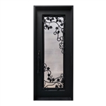 Iron Round Top Grapevine Door with Frame and Threshold - 40 x 96 Inches - Matte Black - ALEKO
