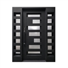 Iron Square Top Geometric-Embossed Door with Frame and Threshold - 62 x 81 Inches - Matte Black - ALEKO