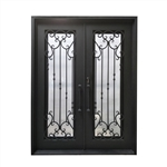 Iron Square Top Baroque-Inspired Dual Door with Frame and Threshold - 72 x 96 Inches - Matte Black - ALEKO