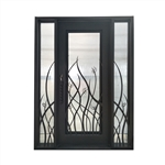 Iron Square Top Tall Grass Door with Frame and Threshold - 72 x 96 Inches - Aged Bronze - ALEKO