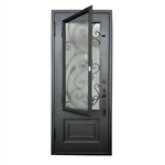 Iron Vine Design Single Door with Square Top  - 96 x 40 - 6 Inches - Matte Black - ALEKO