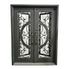 Iron Square Top Vine and Curve Dual Door with Frame and Threshold - 81 x 62 x 6 Inches - Matte Black - Matte Black