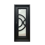 Iron Square Top Semi-Circle Design Single Door with Frame and Threshold - 244 x 102 x 15 CM - Matte Black