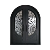Iron Round Top Leaf Dual Door with Frame and Threshold - 72 x 96 Inches - Matte Black - ALEKO
