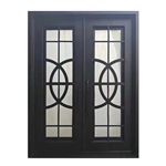 Iron Square Top Curvature-Designed Dual Door with Frame and Threshold - 244 X 183 X 15 CM - Matte Black