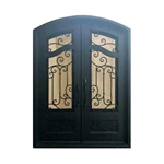 Iron Arched Top Dimensional-Panel Dual Door with Frame and Threshold - 206 x 157 x 15 cm - Matte Black
