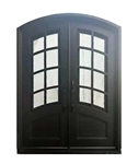 Iron Arched Top Glass-Panel Dual Door with Frame and Threshold - 206 x 157 CM - Matte Black