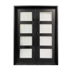 Iron Square Top Minimalist Glass-Panel Dual Door with Frame and Threshold - 72 x 6 x 96 inches - Matte Black - ALEKO